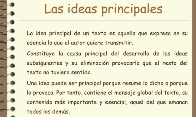Aprendamos a identificar las ideas más importantes en el texto