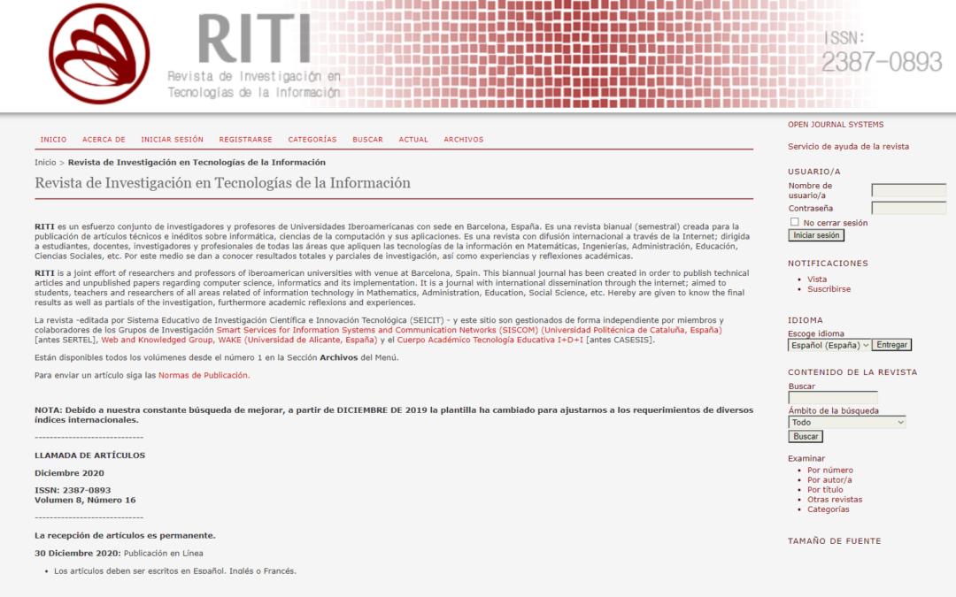 Revista de Investigación en Tecnologías de la Información