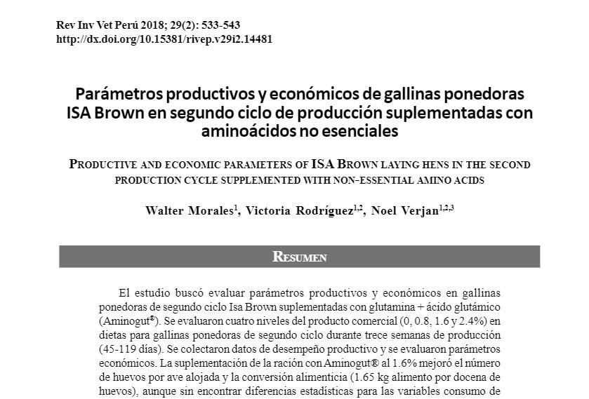 Parámetros productivos y económicos de gallinas ponedoras ISA Brown en segundo ciclo de producción suplementadas con aminoácidos no esenciales