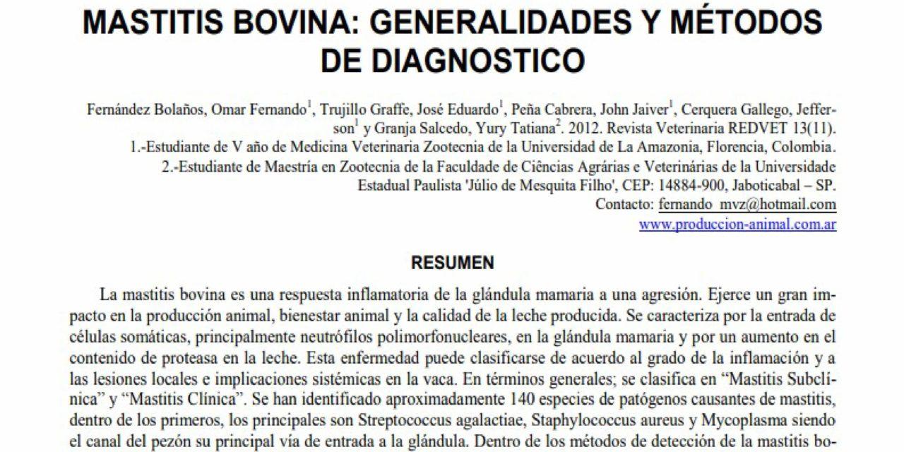Mastitis bovina: Generalidades y métodos de diagnóstico