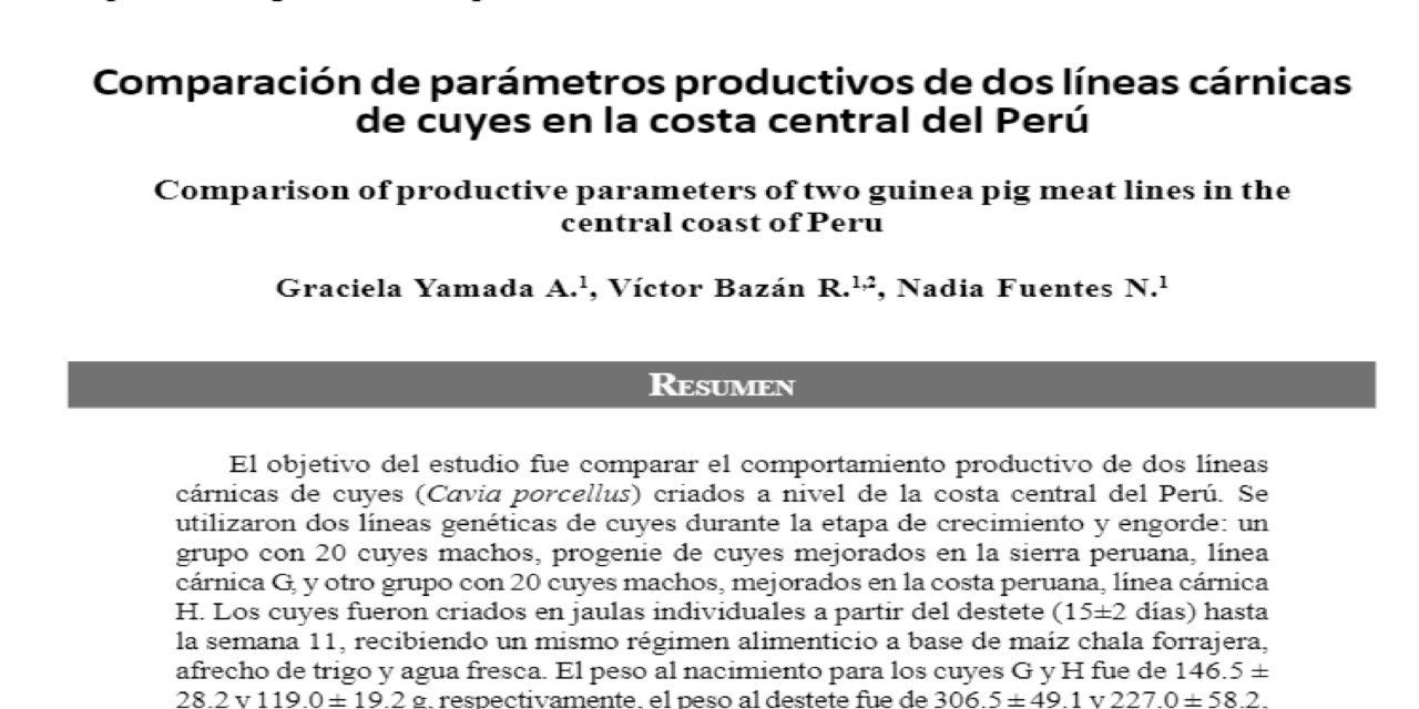 Comparación de parámetros productivos de dos líneas cárnicas de cuyes en la costa central del Perú
