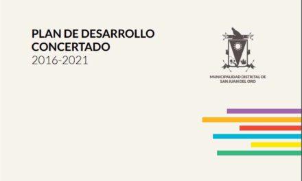 PLAN DE DESARROLLO CONCERTADO 2016-2021 MUNICIPALIDAD DISTRITAL DE SAN JUAN DEL ORO- PUNO
