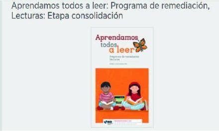 Aprendamos todos a leer: Programa de remediación, Lecturas: Etapa consolidación